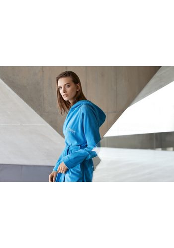 - Damen Bademantel PLAIN Samt  Hugo Boss Home blau | 03596488860757