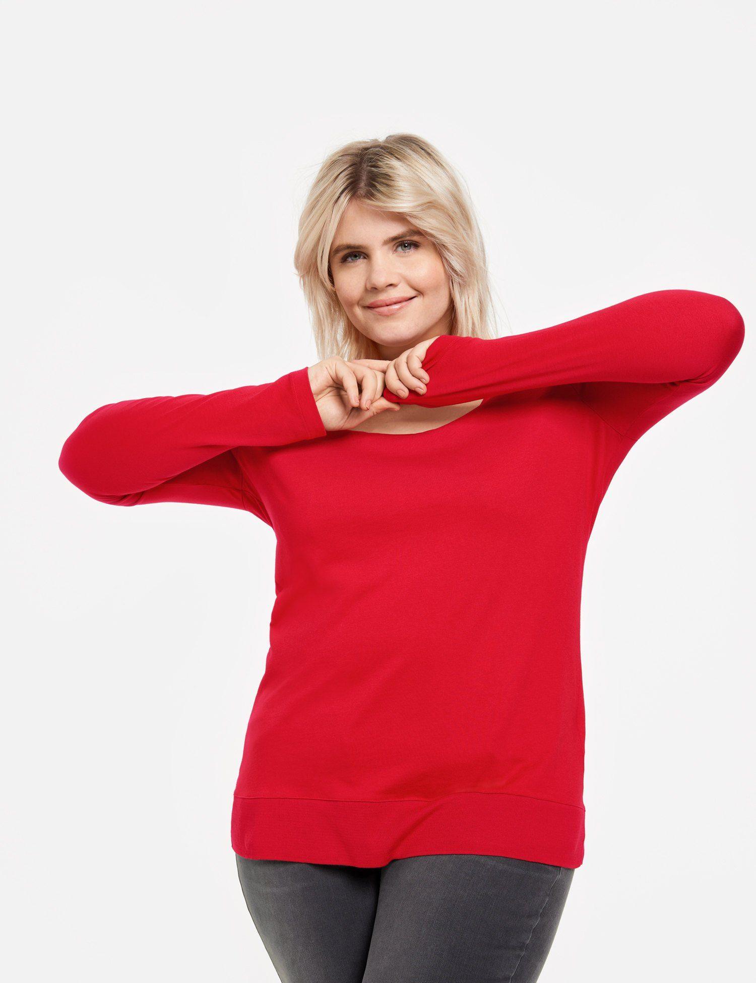 SAMOON T-Shirt Langarm Rundhals »Longsleeve mit Rippbündchen«