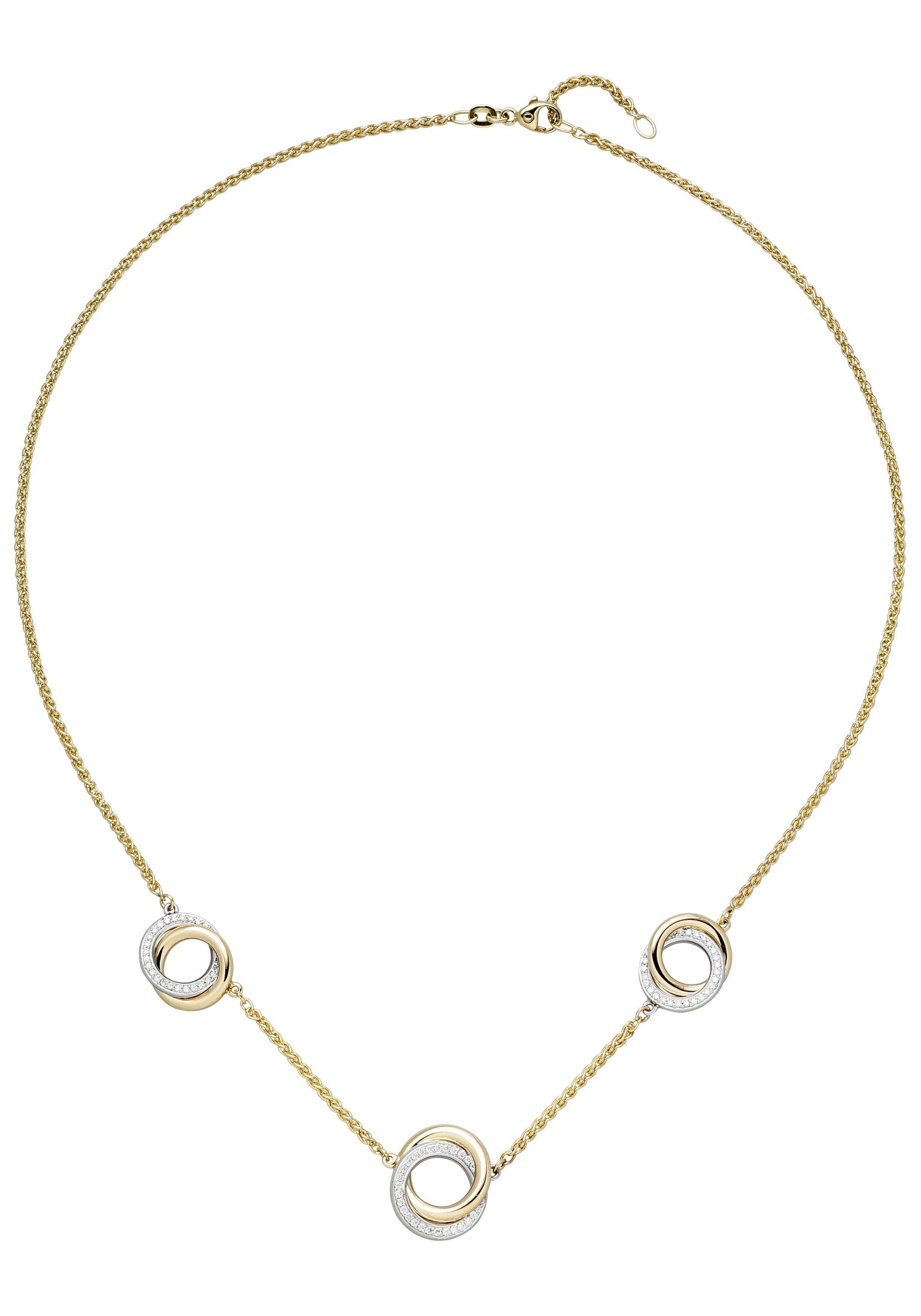 JOBO Collierkettchen 585 Gold bicolor mit 82 Diamanten