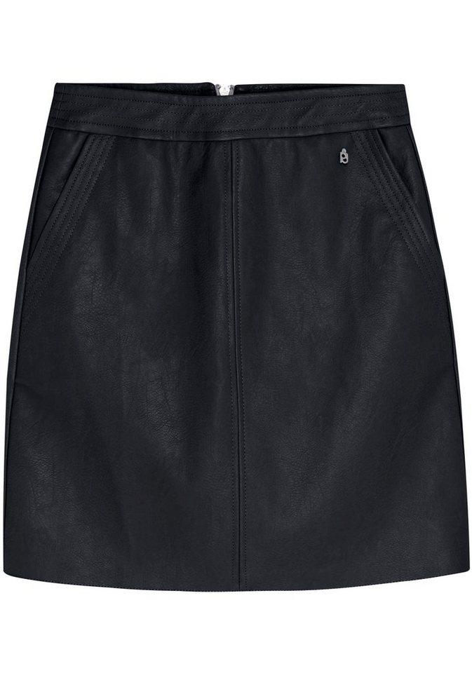 Damen Pepe Jeans Lederimitatrock PETYA mit Reißverschluss hinten schwarz | 08434786051697