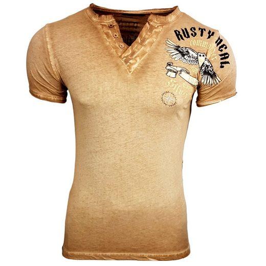 rusty neal t shirt mit gro fl chigem druck a1 rn15046. Black Bedroom Furniture Sets. Home Design Ideas