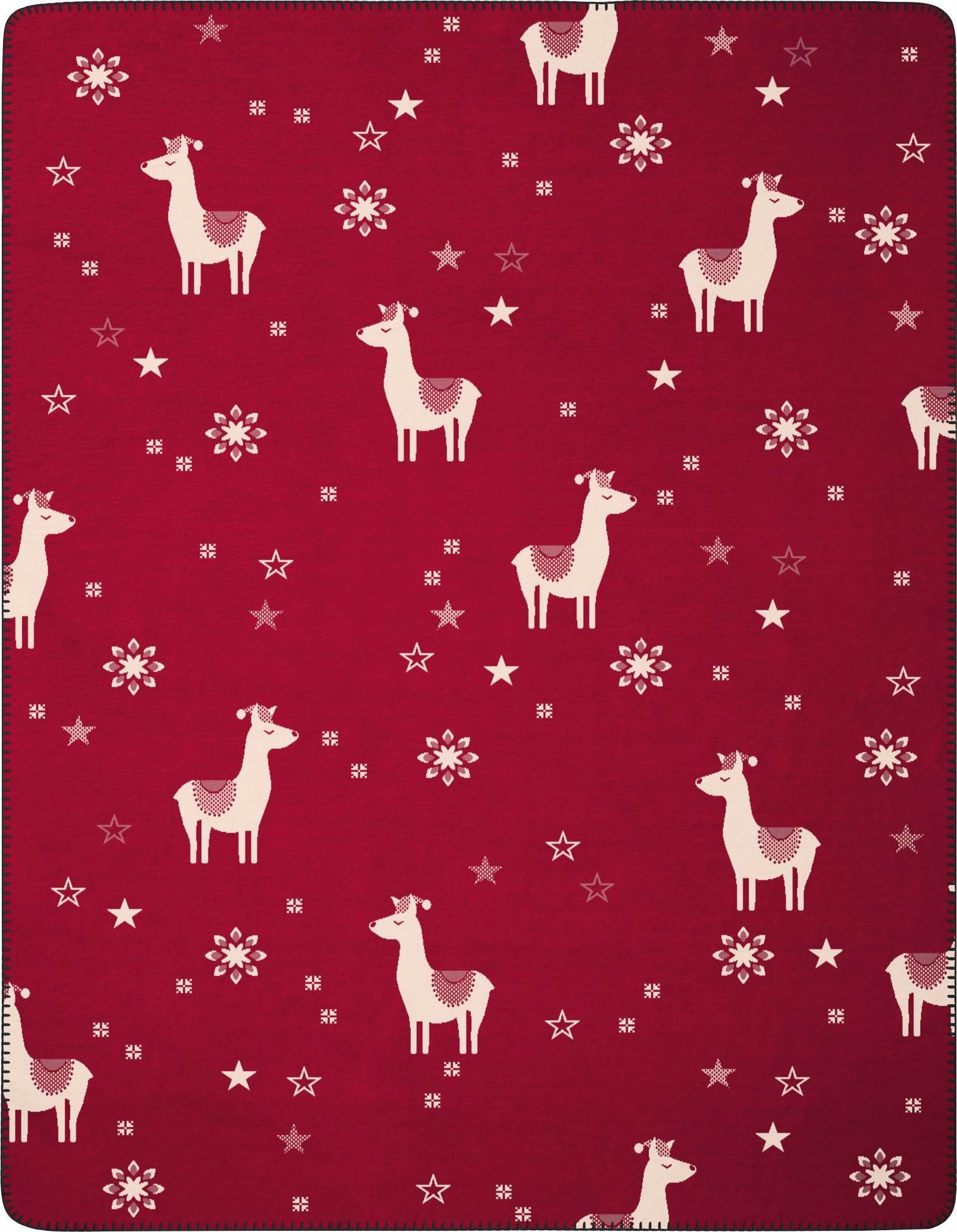 Wohndecke »Alpaka«, BIEDERLACK, mit Lamas und Schneeflocken