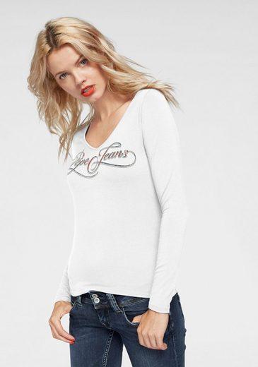 Pepe Jeans Langarmshirt »MARLENE« mit mehrfarbigem Logo-Print