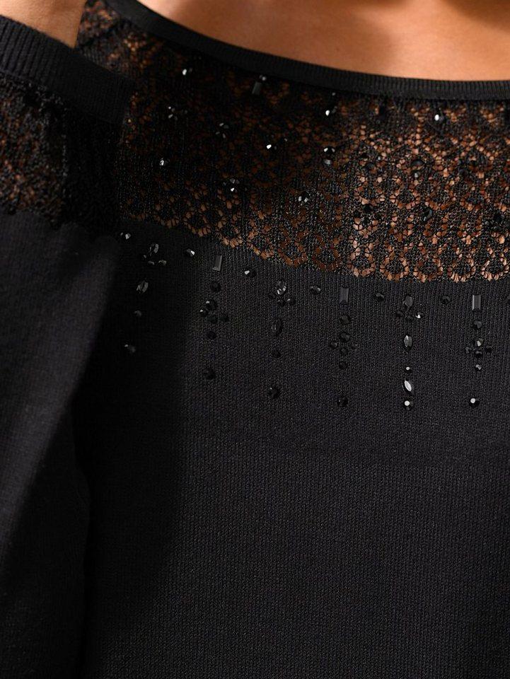 Alba Moda Pullover mit gestrickter Spitze und Strass-Steinchen