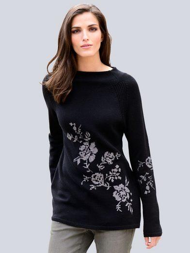 Alba Moda Pullover mit modischem Stehkragen