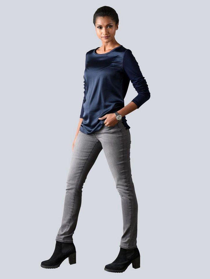 Alba Moda Shirt mit kurzer, dekorativer Knopfleiste im Rückenteil