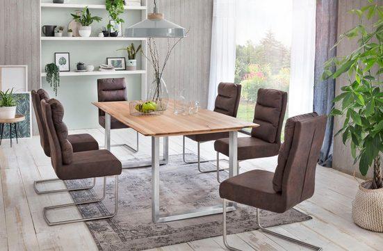 Premium collection by Home affaire Esstisch »Montreal«, Eichenholzlamellen geölt mit eleganter Schweizer Kante, Gestell silber