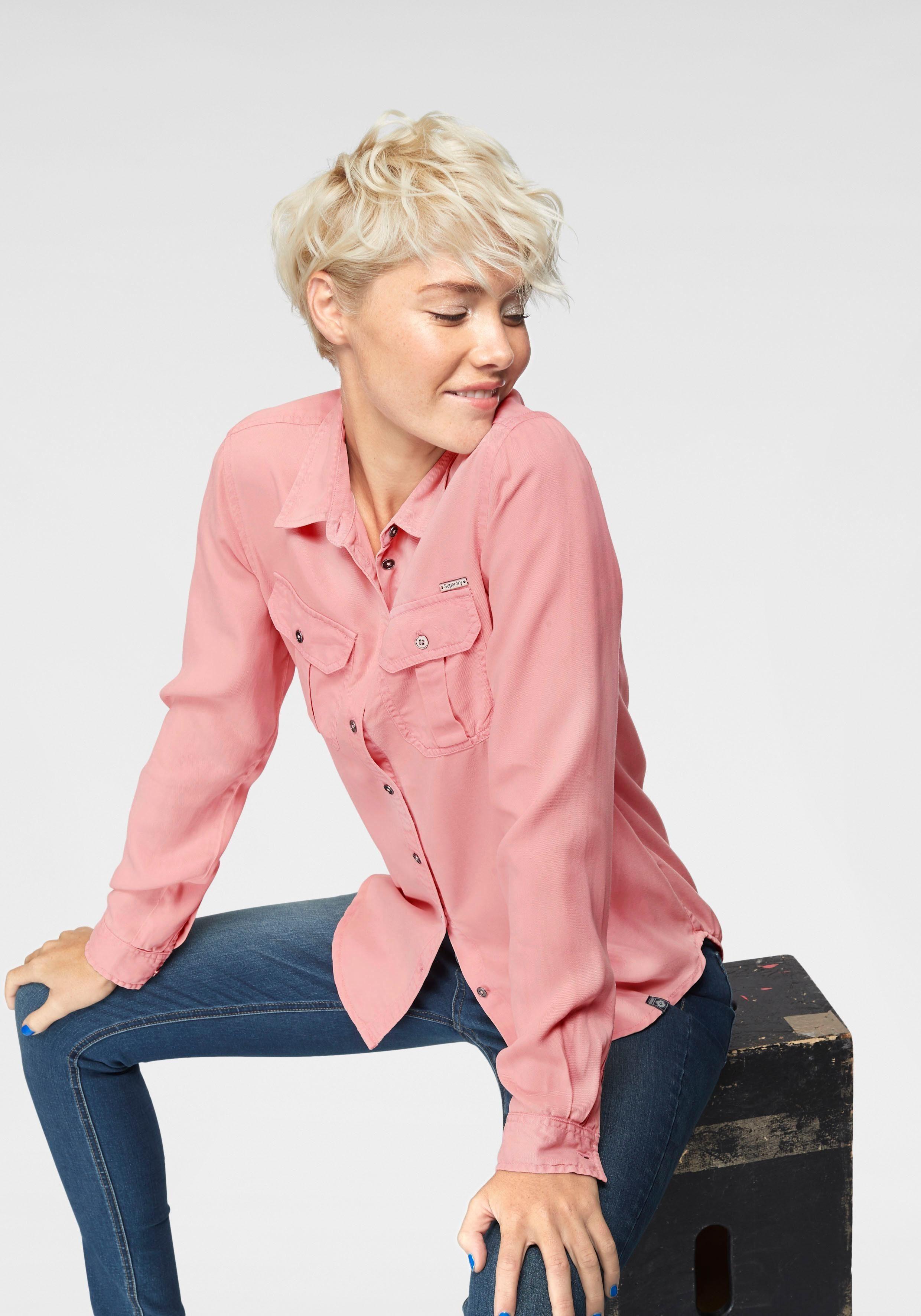 Superdry Klassische Bluse »XENIA ACID WASH SHIRT« mit Brusttaschen