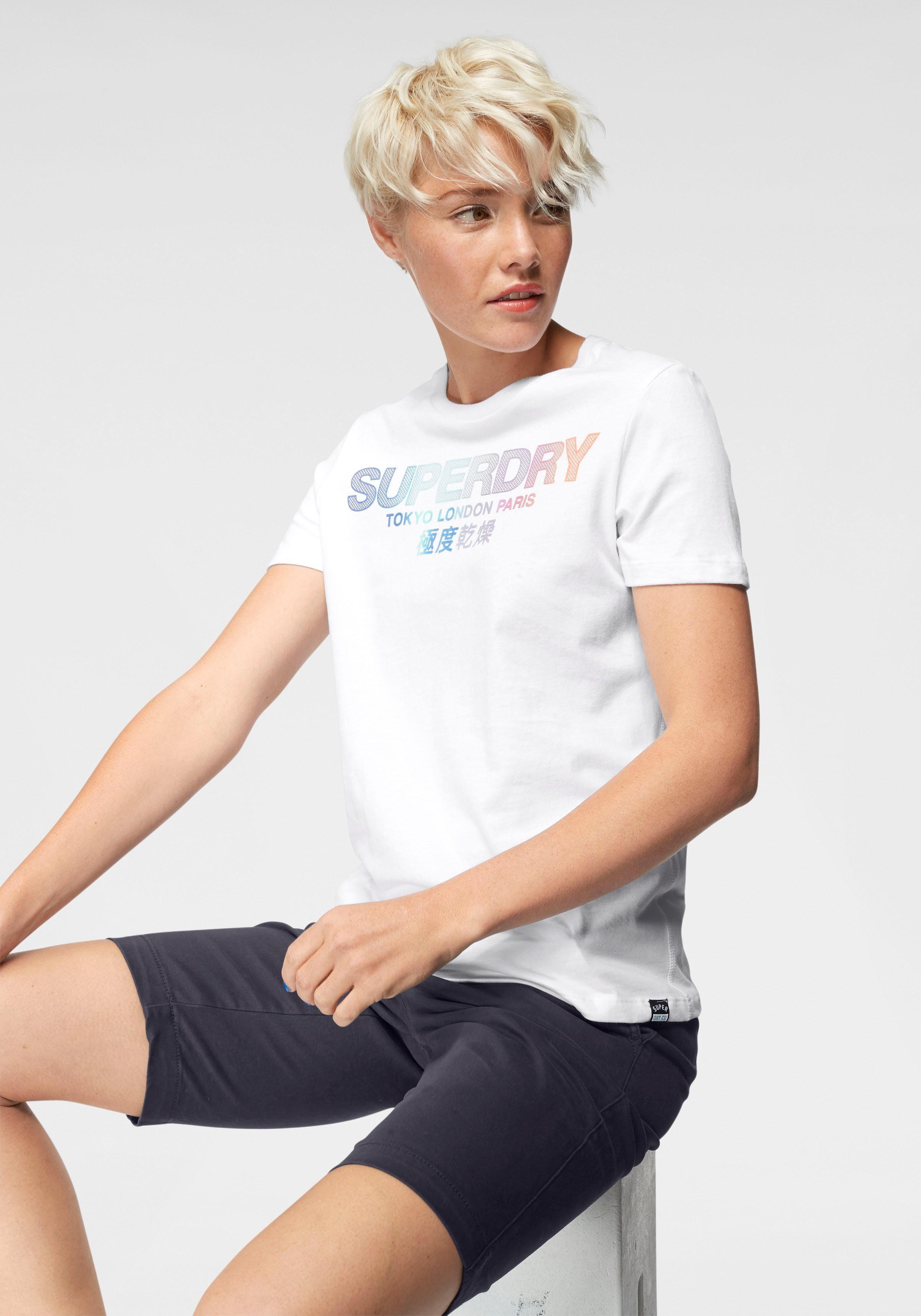 Superdry T-Shirt »CITY NIGHTS OMBRE PUFF ENTRY TEE« mit Rainbow-Logodruck in Netzoptik