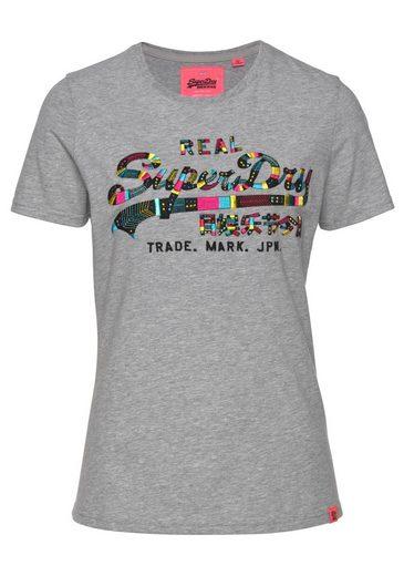 Logostickerei Mit T Boutique Bunter Entry Tee« Grau meliert Superdry Ethno Logo Im look Embroidery shirt »vintage wkN8PXOn0