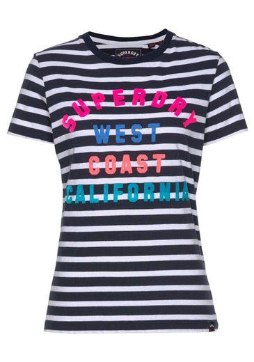 Logodruck Mit Tee« Superdry Vorne T shirt Stripe Coast Buntem »west Entry 7x74PZwzq