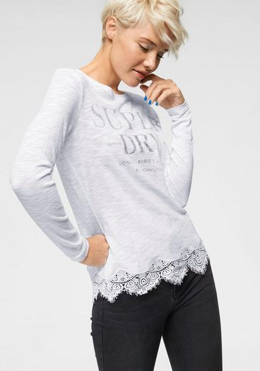 superdry langarmshirt annabeth lace top mit. Black Bedroom Furniture Sets. Home Design Ideas