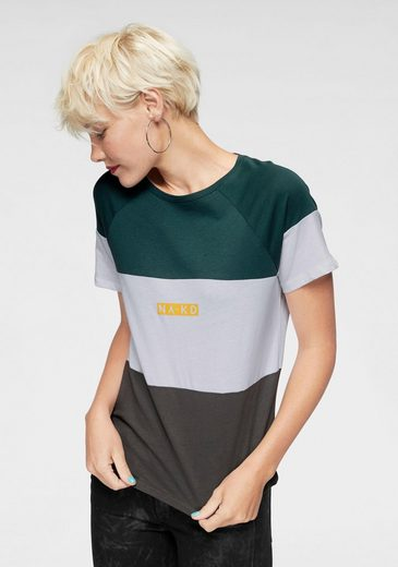 NA-KD T-Shirt »617« Kurzarm Shirt im College Style mit Logoprint