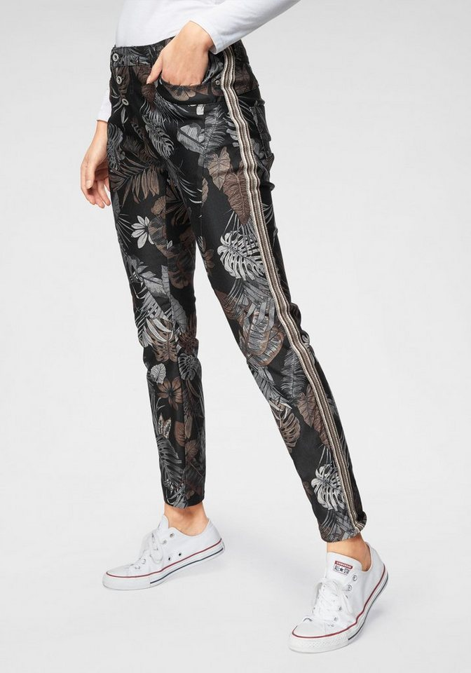 Please Jeans Boyfriend-Jeans »P78« im All-Over Print Design & Gallon Streifen | Bekleidung > Jeans > Boyfriend-Jeans | Schwarz | Please Jeans