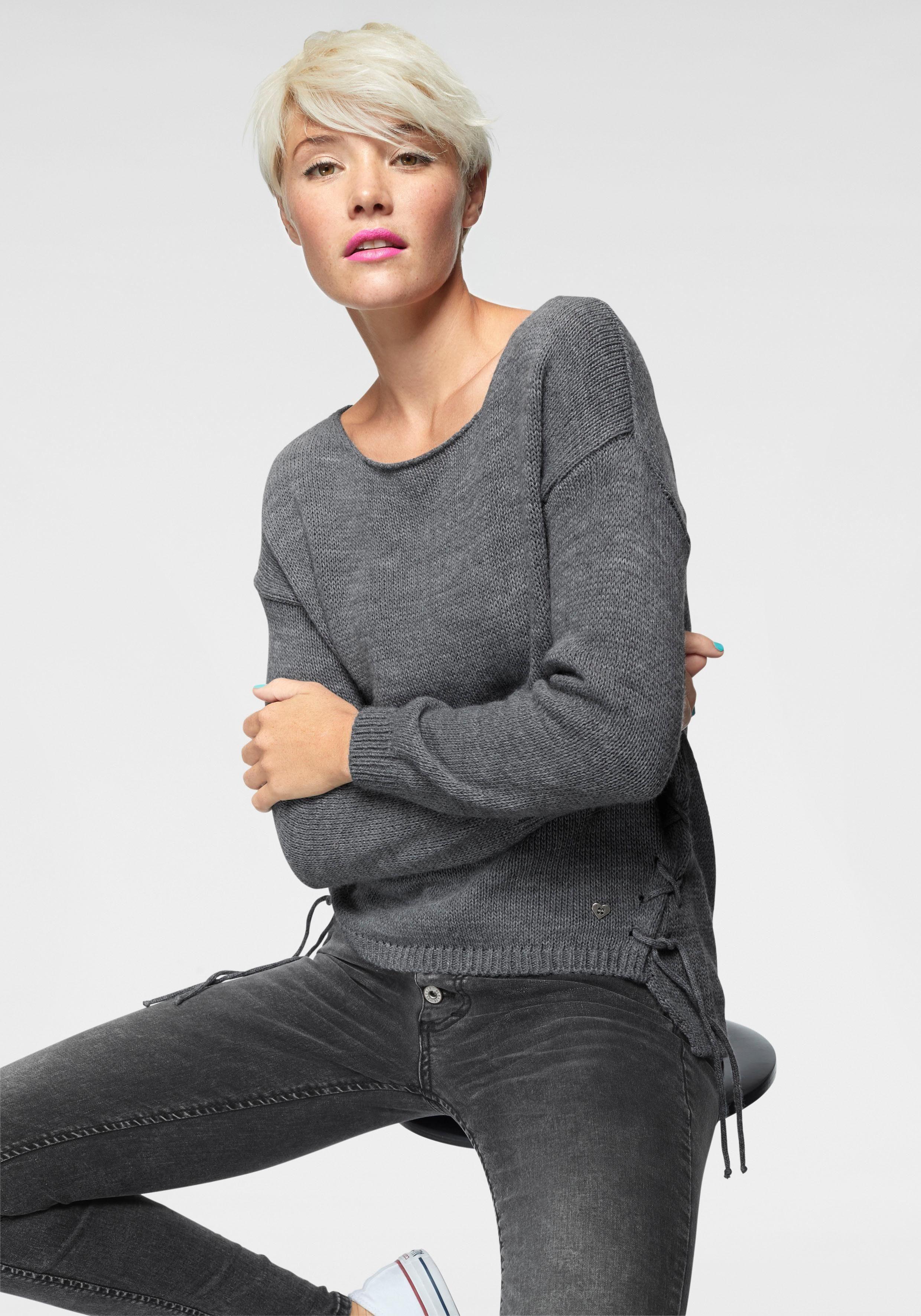 Please Jeans Strickpullover »M49« mit seitlicher Schnürung