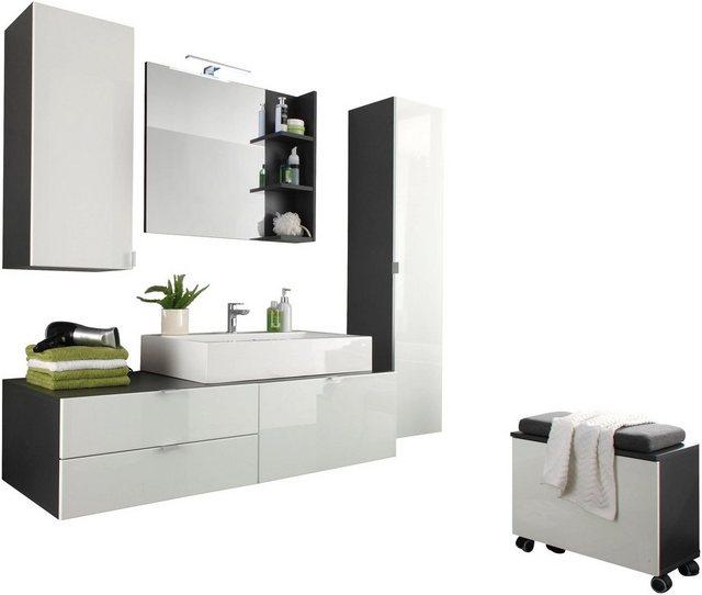 Badezimmer Sets - trendteam Badmöbel Set »Beach«, (Set, 4 St), mit Aufsatzwaschbecken  - Onlineshop OTTO