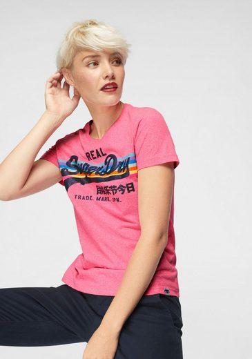Superdry T-Shirt »V LOGO RETRO RAINBOW ENTRY TEE« im Rainbow-Design