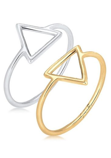 Elli Ring-Set »Dreieck Bi-Color Geo Set, 0611211215« (Set, 2-tlg)