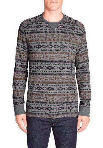 Herren Eddie Bauer Langarm-Poloshirt Waffelshirt – bedruckt grau | 04057682370965