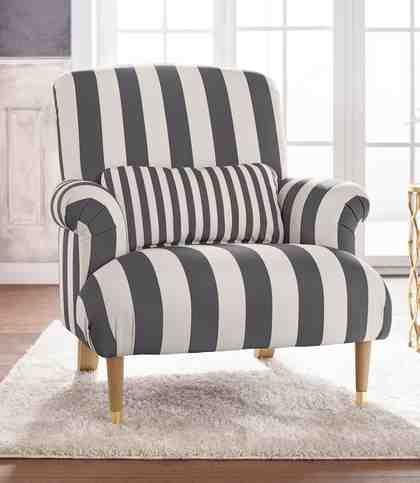 GMK Home & Living Big-Sessel »Cholet« mit Zierkissen und Beinen aus Eiche, Bezugsqualität: Baumwollmix