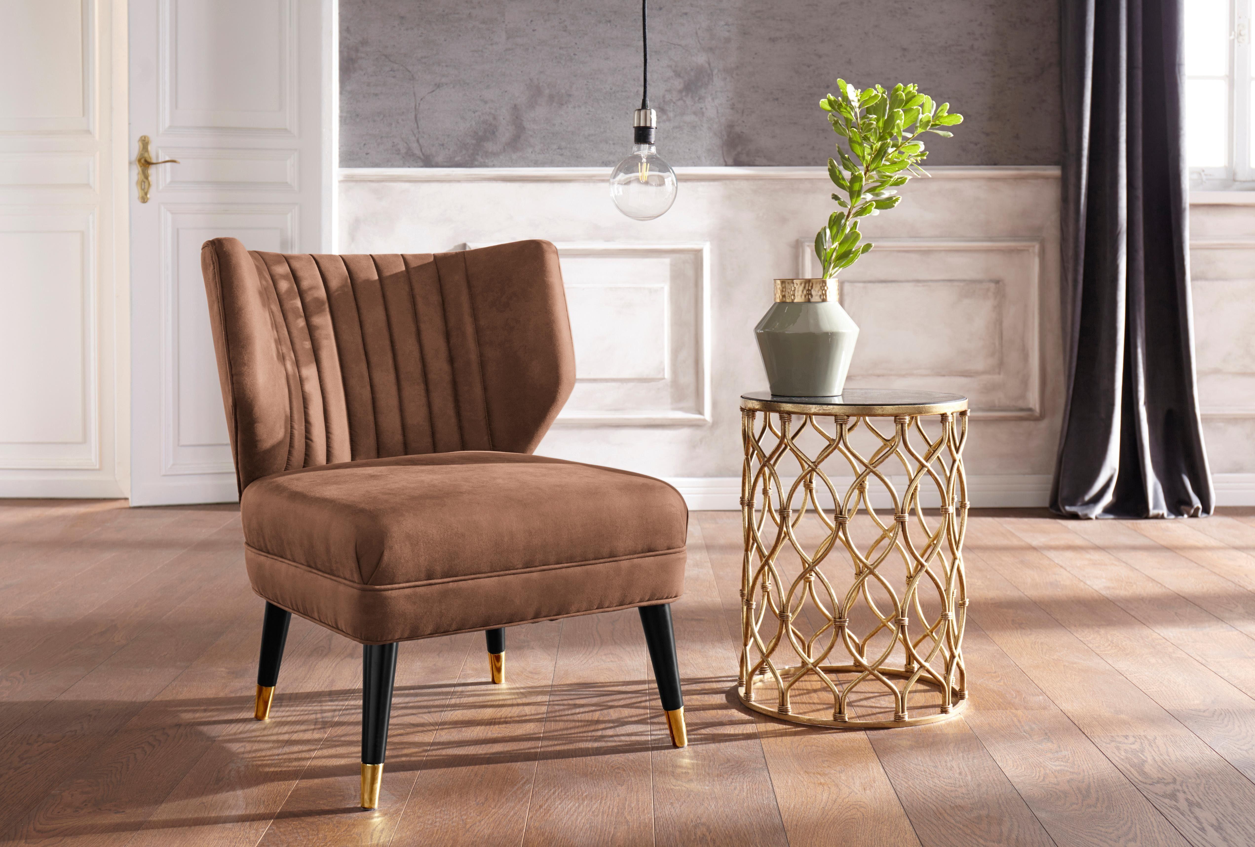 GMK Home & Living Sessel »Clermont« mit schönem Bezug aus Luxus-Microfaser in Wildlederoptik und goldfarbenen Fußabsatz