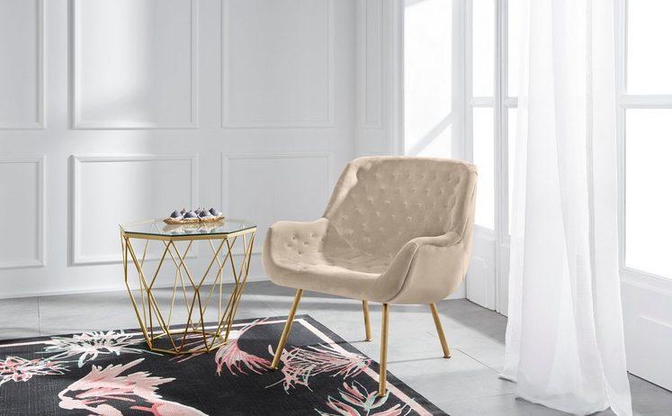 GMK Home & Living Sessel »Roubaix« aus weichem Velvetbezug und schönem Chesterfield-Look auf der Rücken- und Sitzfläche, Sitzhöhe 44 cm