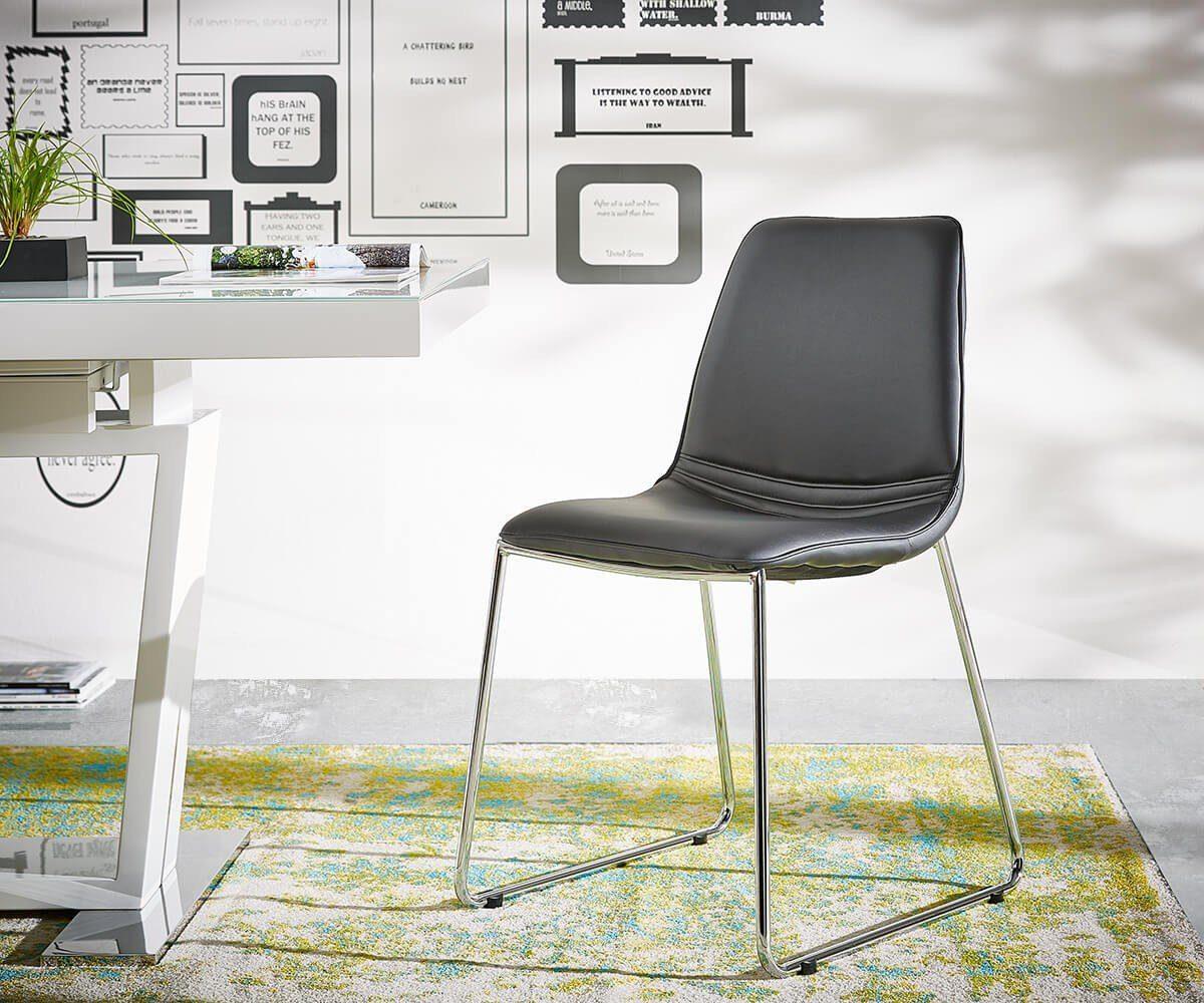 DELIFE Küchenstuhl Fabrizius Schwarz 55x83 cm Beine