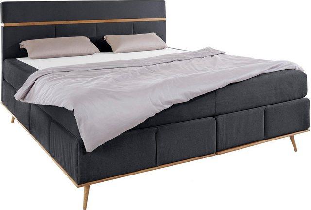 Betten - Places of Style Boxspringbett »June«, mit Massivholzrahmen, incl. Topper, in 3 Breiten und 2 Härtegraden › Einheitsgröße › schwarz  - Onlineshop OTTO