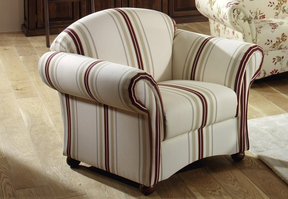 Max Winzer® Sessel »Carolina«, mit Holz-Kugelfüßen in Streifen