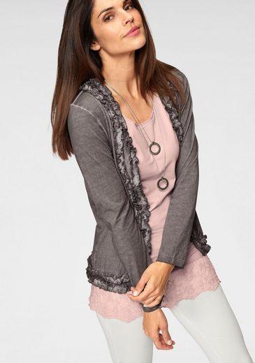 Boysen's Shirtjacke mit femininen Rüschen