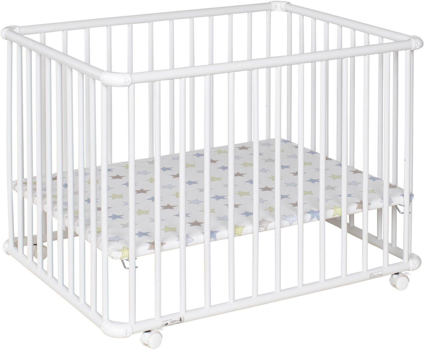 Geuther Laufgitter »Belami Plus, weiß, 76x97 cm«, mit Folienboden 032 | Kinderzimmer > Babymöbel > Lauf- & Schutzgitter | Weiß | Buche - Lackiert - Spanplatte | Geuther