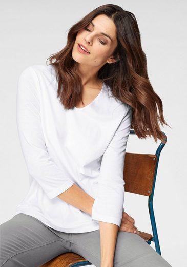 Olsen V-Shirt mit 3/4 Arm, Vorderteil blickdicht gedoppelt