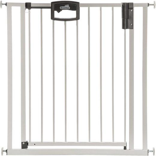 Geuther Türschutzgitter »Easylock Wood Plus, weiß/silberfarben«, aus Holz/Metall, 80,5-88,5 cm