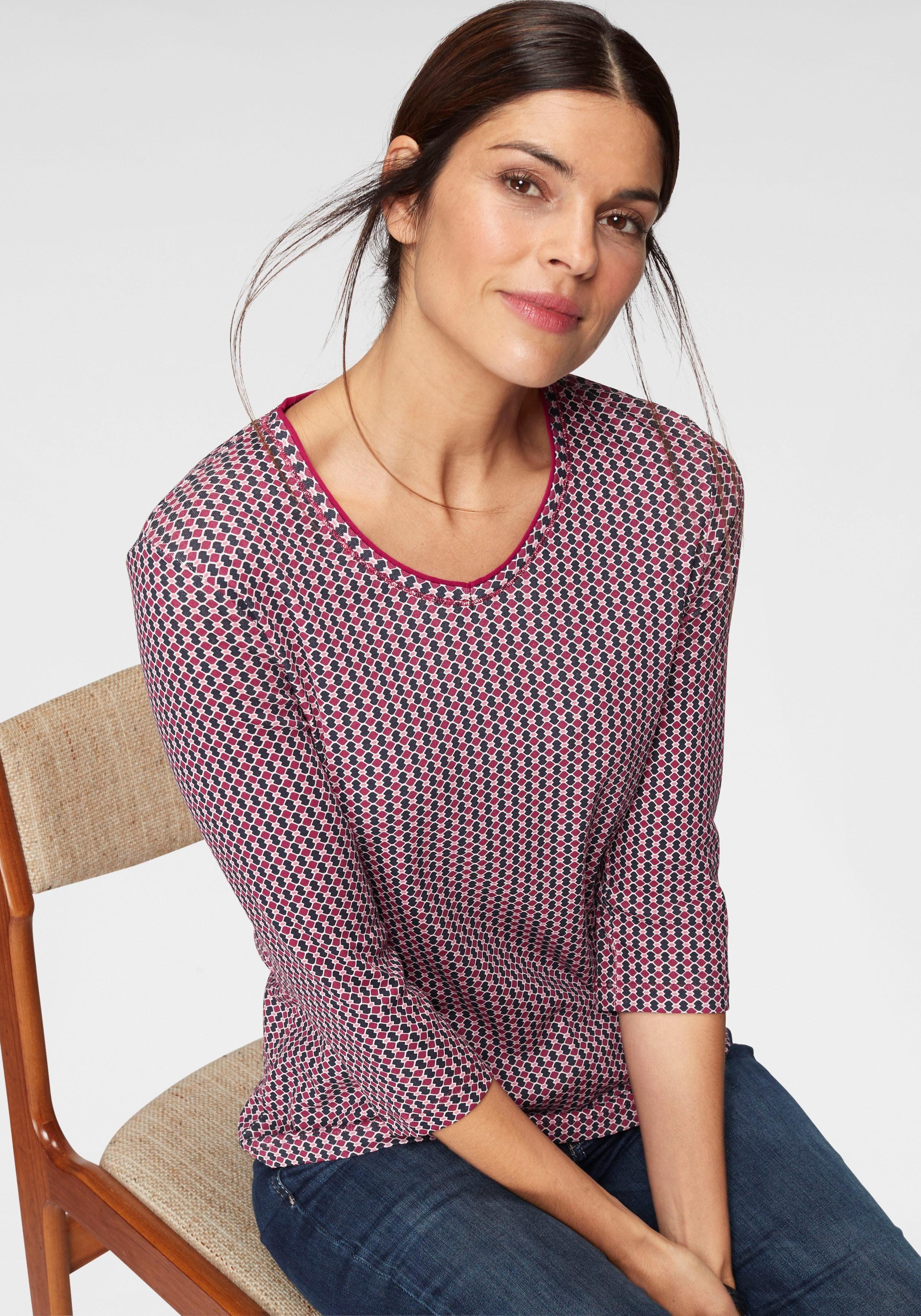 Olsen Print-Shirt mit Allover-Minimal-Druck