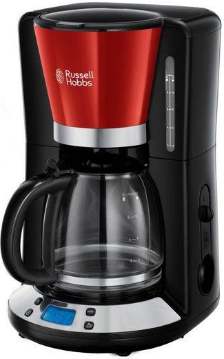 RUSSELL HOBBS Filterkaffeemaschine Colours Plus+ Flame Red 24031-56, 1,25l Kaffeekanne, Papierfilter 1x4