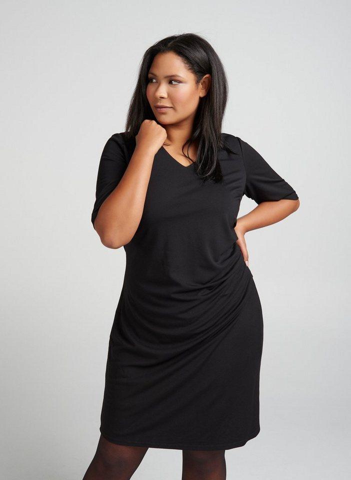 6b96fb794f Zizzi Abendkleid Damen Kleid Elegant Drapierung V-Ausschnitt Schwarz Große  Größen