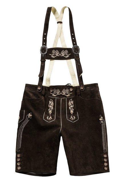 JP1880 Lederhose bis 70, Lederhose, knielange Trachtenhose mit Trägern, Hirschknopf-Optik, abnehmbares Geschirr | Bekleidung > Hosen > Lederhosen | Braun | JP1880