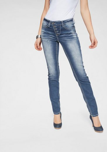 Arizona Slim-fit-Jeans »Heavy Washed - Shaping« Mid Waist
