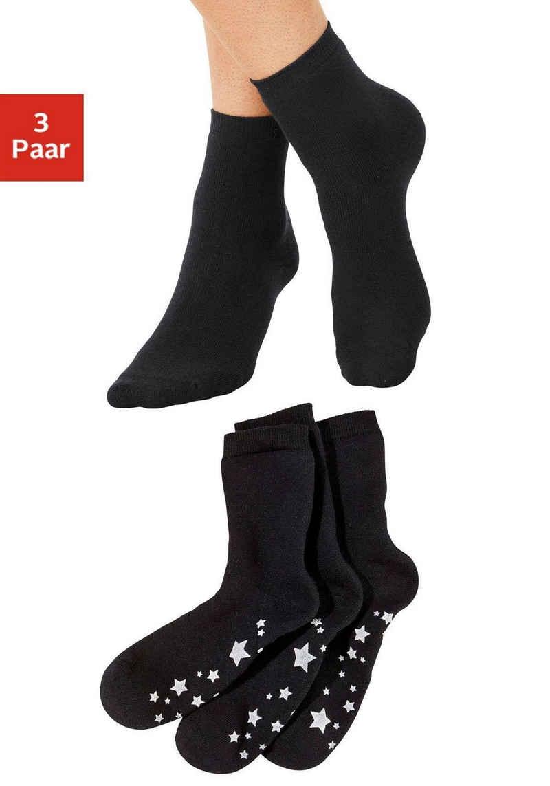 Lavana ABS-Socken (3-Paar) mit Antirutschsohle im Sterndesign