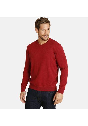 Herren Jan Vanderstorm V-Ausschnitt-Pullover MERTEN aus hochwertigem Wolle-Mix rot | 04056916330454