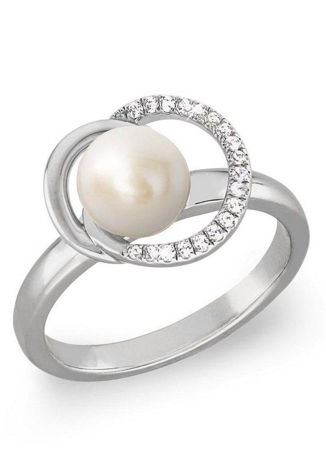 Joop! Perlenring »2023381, 2023382, 2023384, 2023385,« mit Zirkonia und Süßwasserzuchtperle | Schmuck > Ringe > Perlenringe | Weiß | Joop!