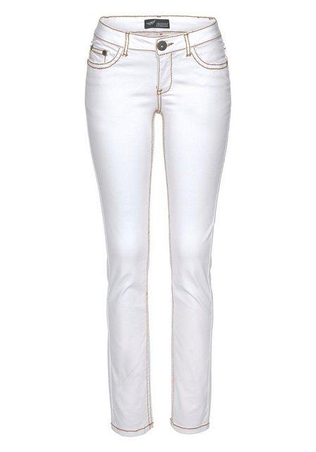 Hosen - Arizona Slim fit Jeans »mit Kontrastnähten und Pattentaschen« Low Waist › weiß  - Onlineshop OTTO