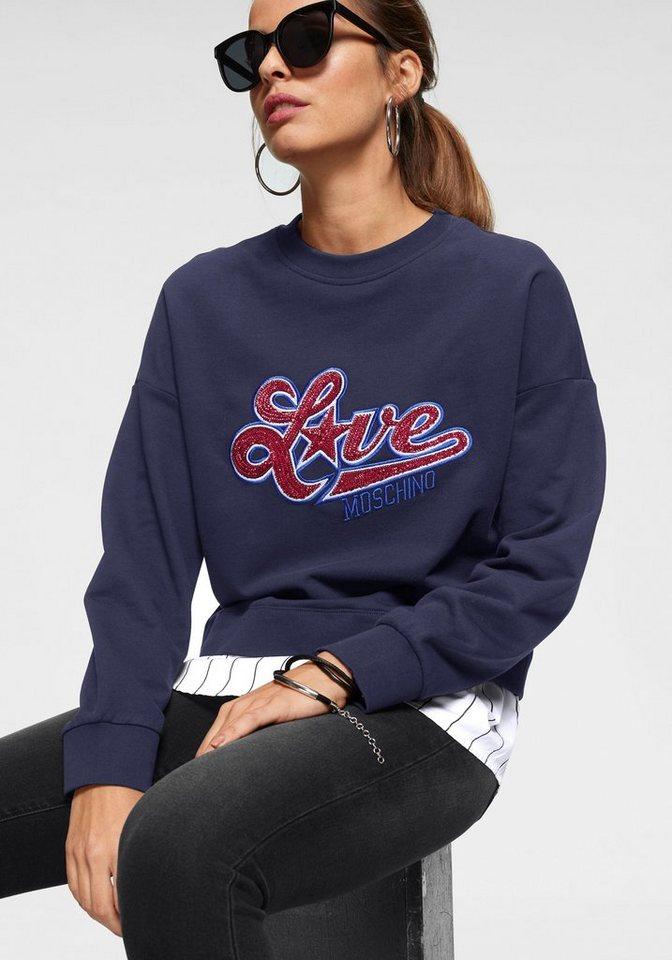 LOVE MOSCHINO 2-in-1-Pullover mit gestreiftem Bluseneinsatz am Saum | Bekleidung > Pullover > 2-in-1 Pullover | Blau | LOVE MOSCHINO