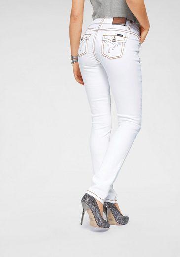 Arizona Slim-fit-Jeans »mit Kontrastnähten und Pattentaschen« Low Waist