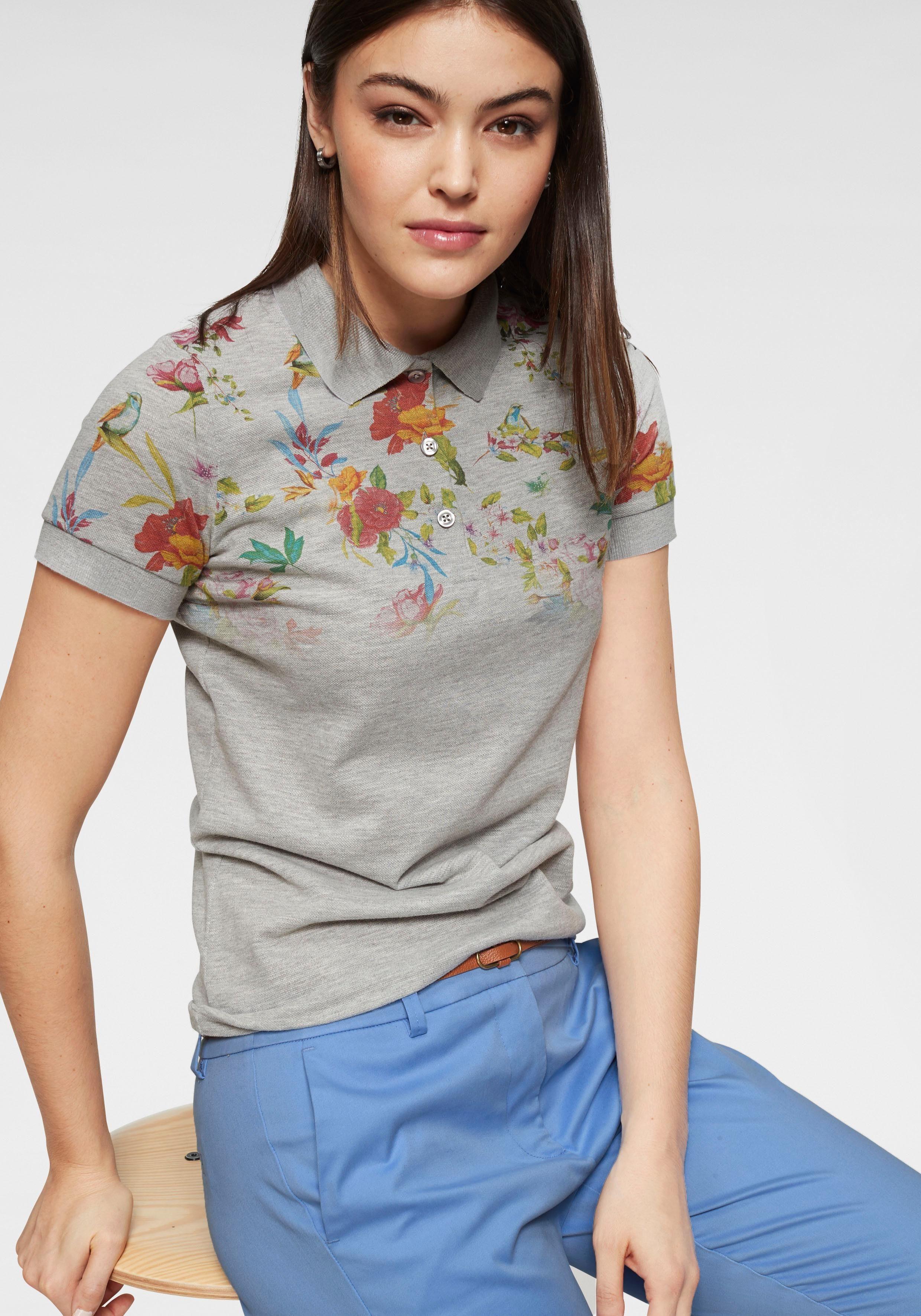 IN LINEA Poloshirt mit femininem Blumendruck