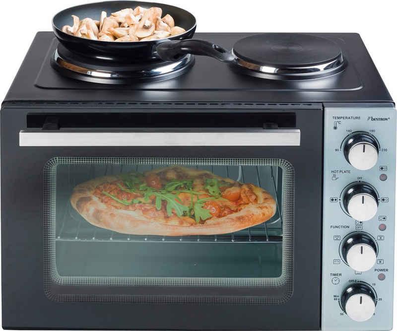 bestron Kleinküche Crispy & Co, Grill, Ober-/Unterhitze, Umluft, 31 l, mit Ofen und Doppelkochplatte, 3200 Watt, Schwarz