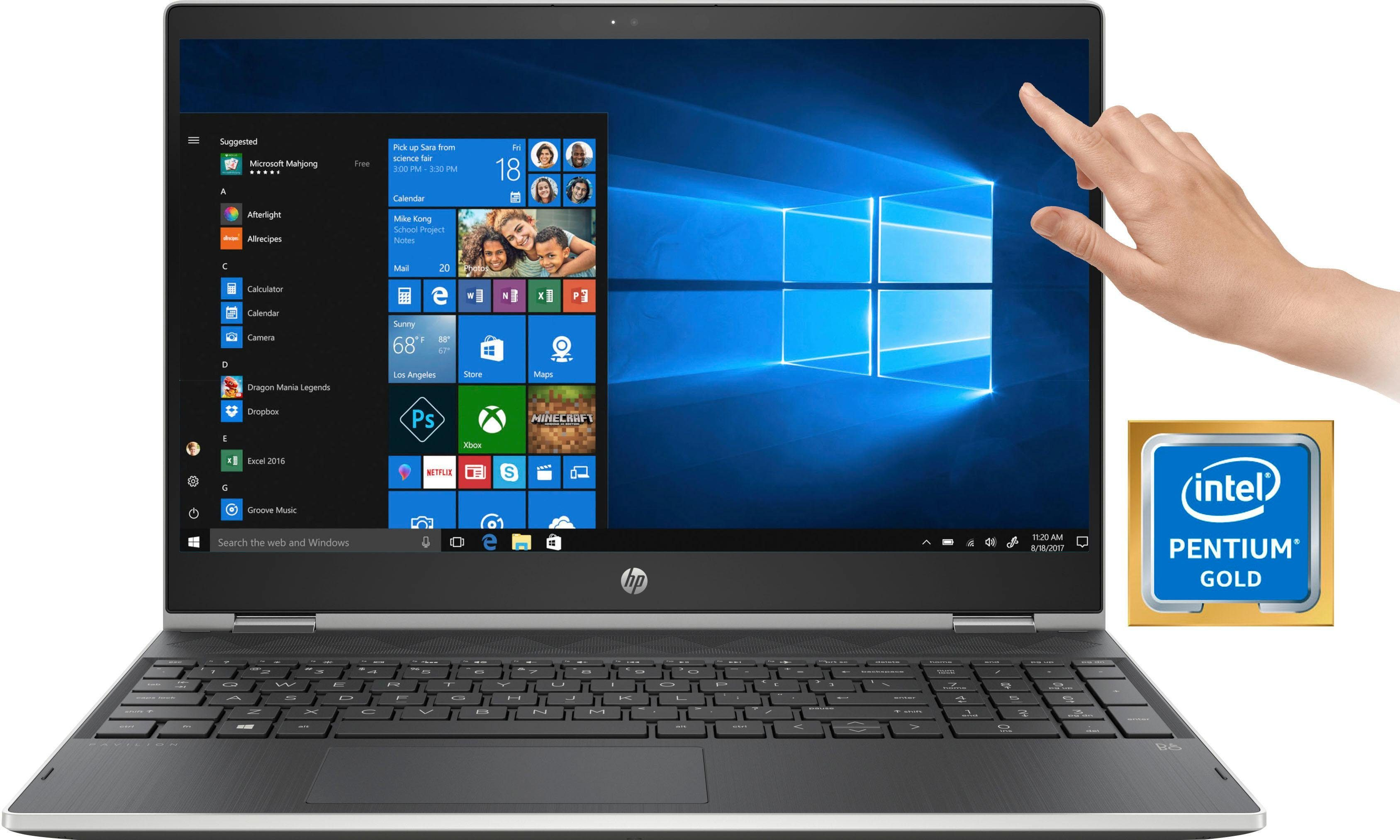 HP Pavilion x360 15-cr0211ng Notebook (39,6 cm/15,6 Zoll, Intel Pentium Gold, HD, 1000 GB HDD, inkl. Office 365 Personal (ESD)