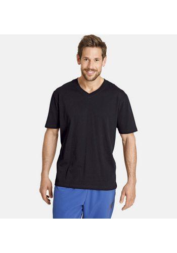 Herren Jan Vanderstorm V-Shirt Set: OSMO (Packung 2er-Pack) mit bequemen Seitenschlitzen schwarz | 04056916349265