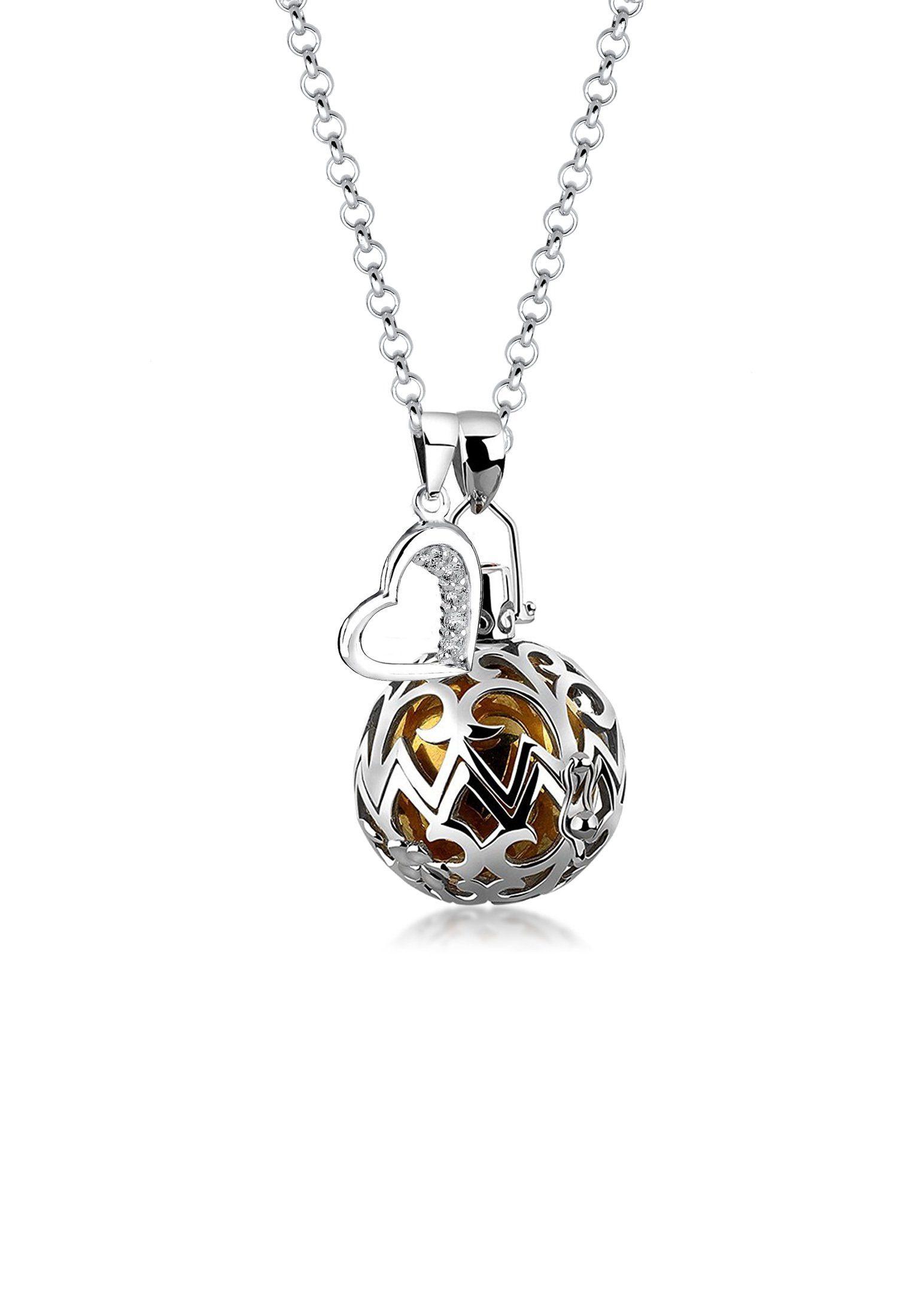 Nenalina Kette mit Anhänger »Herz Symbol Klangkugel Granat Zirkonia 925 Silber«