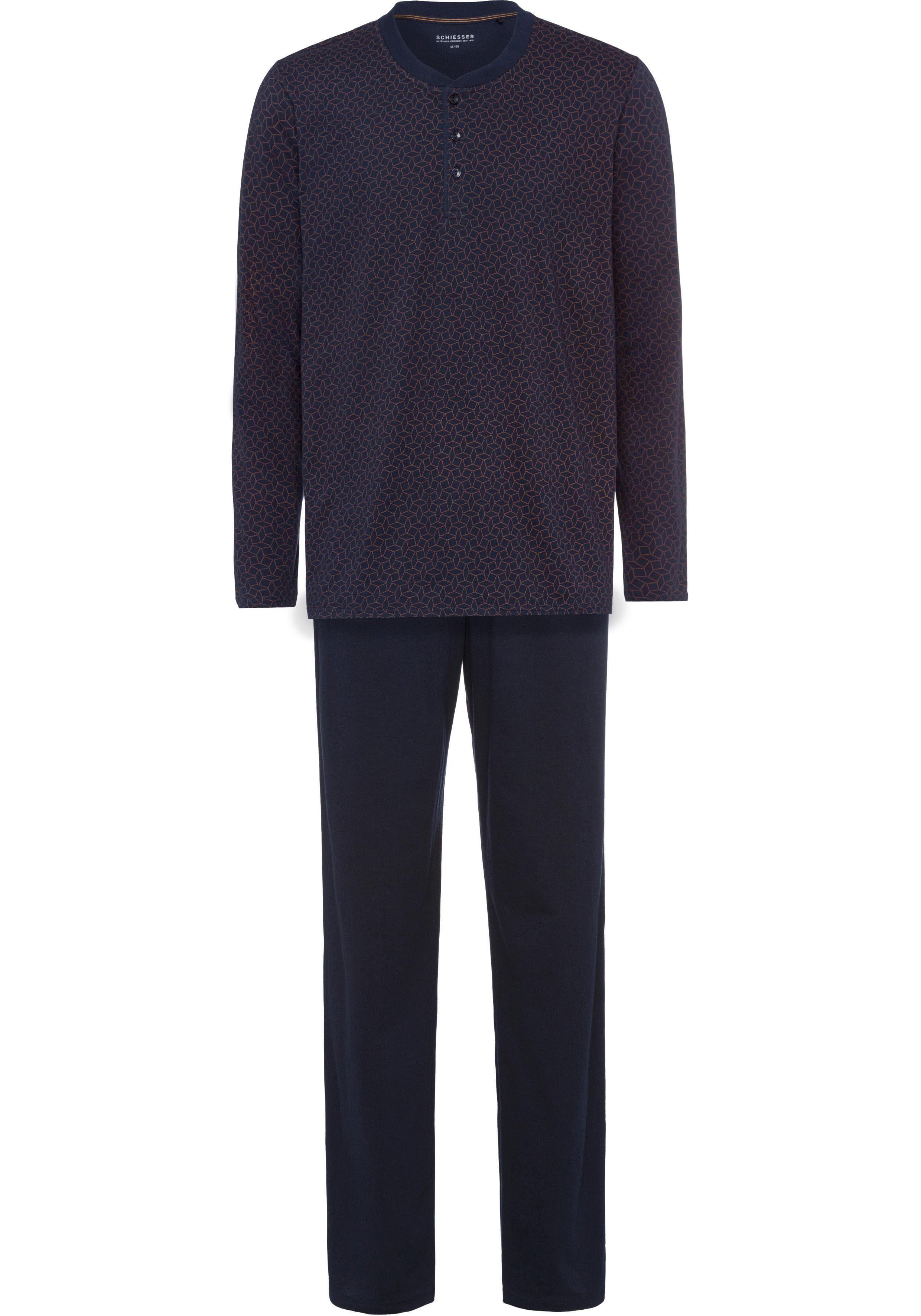 Schiesser Pyjama lang, Oberteil mit Knopfleiste